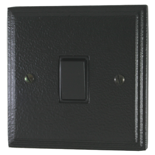 G&H VHB1B Victorian Plate Hammered Black 1 Gang 1 or 2 Way Rocker Light Switch